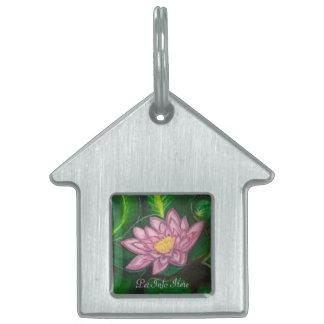 Flor de Lotus (cojín de lirio) Placa De Nombre De Mascota