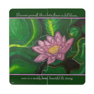 Flor de Lotus (cojín de lirio) Posavasos De Puzzle