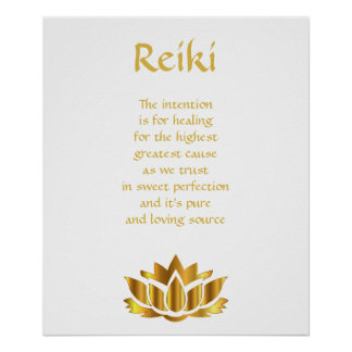 Flor de Lotus del oro de Reiki Póster