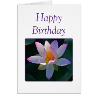 Flor de Lotus del rosa del feliz cumpleaños Tarjeta De Felicitación