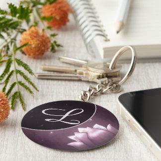 Flor de Lotus en fondo púrpura Llavero Redondo Tipo Pin