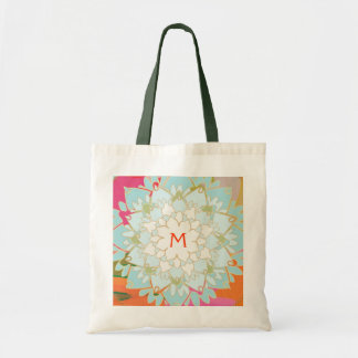 Flor de Lotus floreciente con monograma Bolsa De Mano