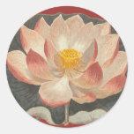 Flor de Lotus, Lilypad, símbolo del budista del Etiqueta Redonda