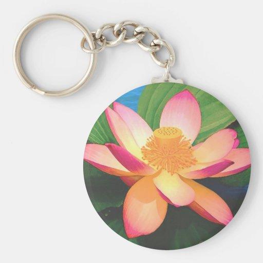 Flor de Lotus Llavero Redondo Tipo Pin