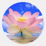 Flor de Lotus llevada en agua Pegatina Redonda
