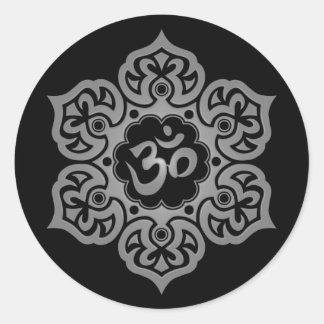 Flor de Lotus oscura OM Etiqueta