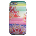 Flor de Lotus pintada a mano radiante Funda De iPhone 6 Tough