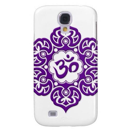 Flor de Lotus púrpura OM en blanco