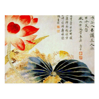Flor de Lotus que rompe la superficie Tarjeta Postal