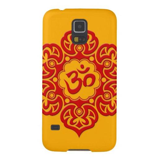 Flor de Lotus roja OM en amarillo Carcasas Para Galaxy S5