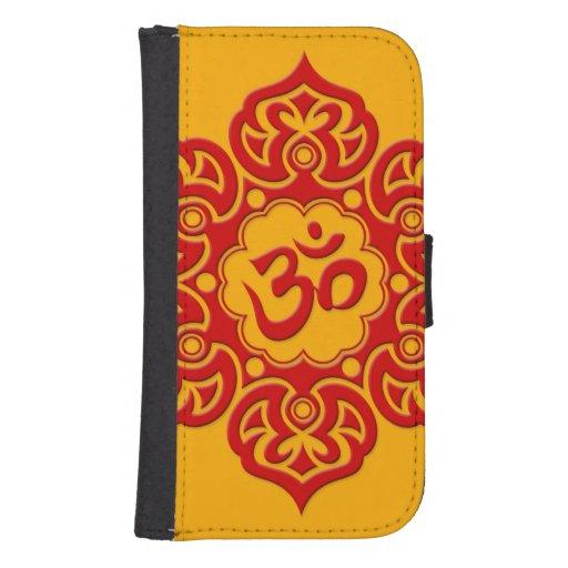 Flor de Lotus roja OM en amarillo Fundas Tipo Cartera Para Galaxy S4