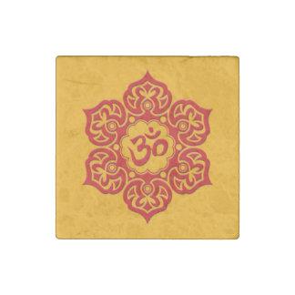 Flor de Lotus roja OM en amarillo Imán De Piedra