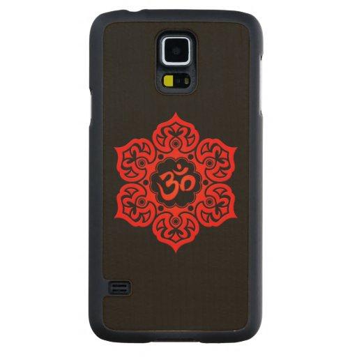 Flor de Lotus roja OM en negro Funda De Galaxy S5 Slim Arce