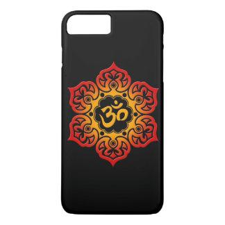Flor de Lotus roja y amarilla OM en negro Funda iPhone 7 Plus