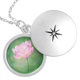 Flor de Lotus rosada, collar de la placa de plata