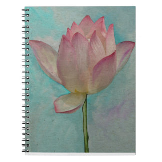 Flor de Lotus rosada en arte de la acuarela de las Note Book