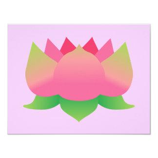 """Flor de Lotus rosada Invitación 4.25"""" X 5.5"""""""