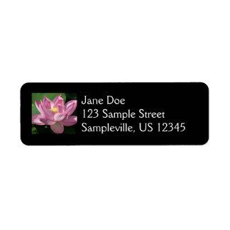 Flor de Lotus rosada IV Etiqueta De Remitente