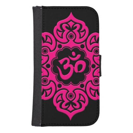 Flor de Lotus rosada OM en negro Funda Tipo Cartera Para Galaxy S4
