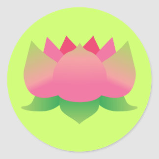 Flor de Lotus rosada Etiqueta Redonda