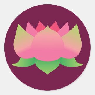 Flor de Lotus rosada Pegatina Redonda
