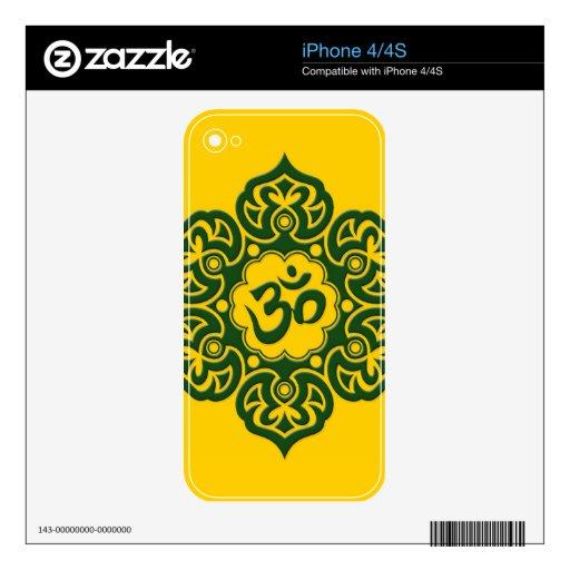 Flor de Lotus verde OM en amarillo iPhone 4 Skin