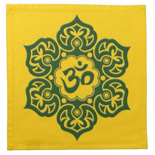 Flor de Lotus verde OM en amarillo Servilleta