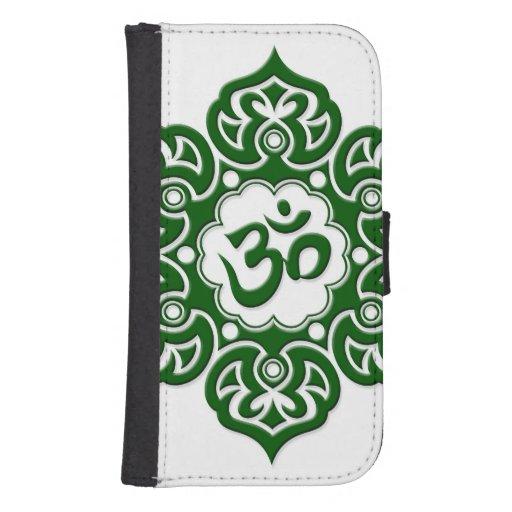 Flor de Lotus verde OM en blanco Cartera Para Teléfono
