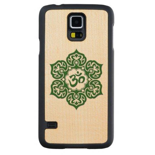 Flor de Lotus verde OM en blanco Funda De Galaxy S5 Slim Arce