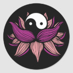 Flor de Lotus y Yin Yang Pegatina Redonda