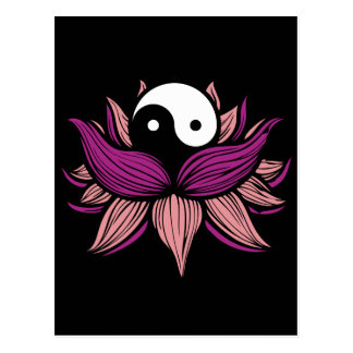 Flor de Lotus y Yin Yang Tarjetas Postales