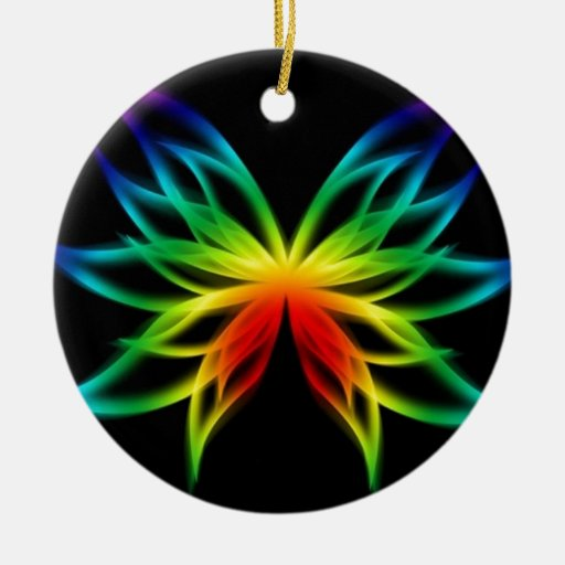 Flor de mariposa del arco iris adorno