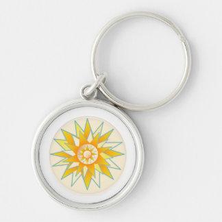 Flor de oro del brillo de Sun Llavero Redondo Plateado