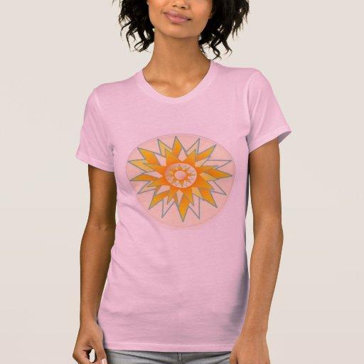 Flor de oro del brillo de Sun Playera
