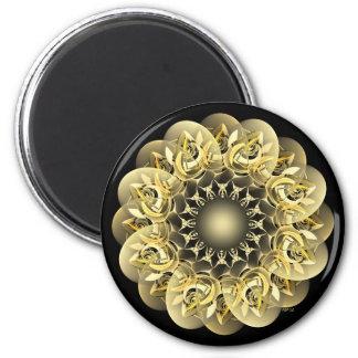 Flor de oro imán redondo 5 cm