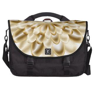 Flor de oro y bolso negro del ordenador portátil bolsas para portátil