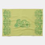 Flor de Paisley (verde) Toallas De Mano
