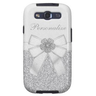 Flor de plata impresa del brillo y del diamante samsung galaxy s3 cárcasa