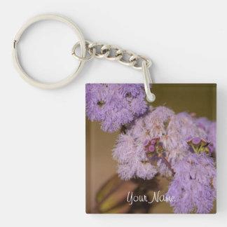Flor de punta púrpura; Personalizable Llavero Cuadrado Acrílico A Una Cara