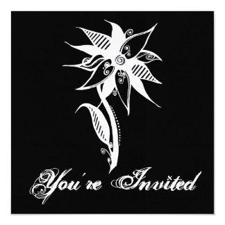 """Flor de Swirly - B&W negativo Invitación 5.25"""" X 5.25"""""""