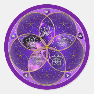 Flor de Venus del rosa violeta del fineART del Pegatina Redonda