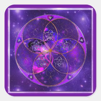 Flor de Venus del universo del fineART del amor Pegatina Cuadrada