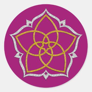 FLOR de VENUS/PLATA del ORO de Venusblume Lotus Etiquetas Redondas