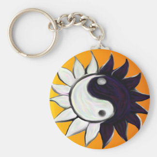Flor de Yin-Yang con el fondo anaranjado de la Llavero Redondo Tipo Pin