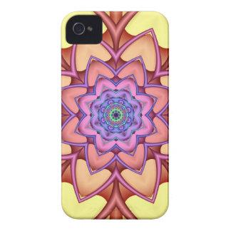 Flor decorativa de la fantasía del fractal iPhone 4 carcasas