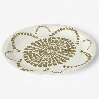 Flor decorativa nupcial de marfil del oro elegante platos de papel