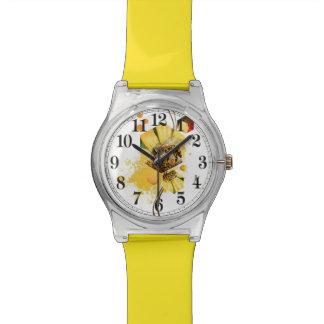 Flor del amarillo de la abeja del peine de la miel relojes de mano