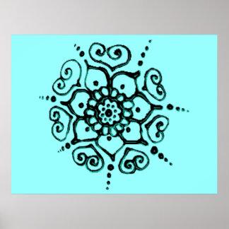 Flor del amor (alheña) (turquesa) póster