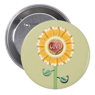 Flor del amor pin redondo de 3 pulgadas