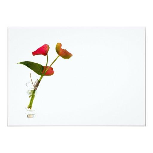 """Flor del Anthurium en vidrio Invitación 5"""" X 7"""""""